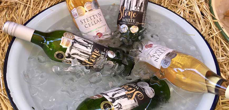 Stettyn wines cellar and stone range in ice bucket at Stettyn Family Vineyards